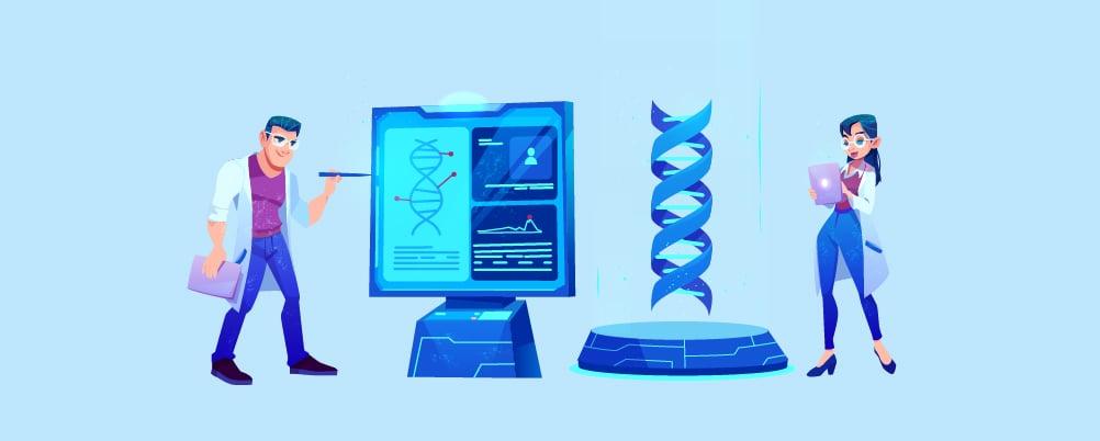 a doctor scanning DNA