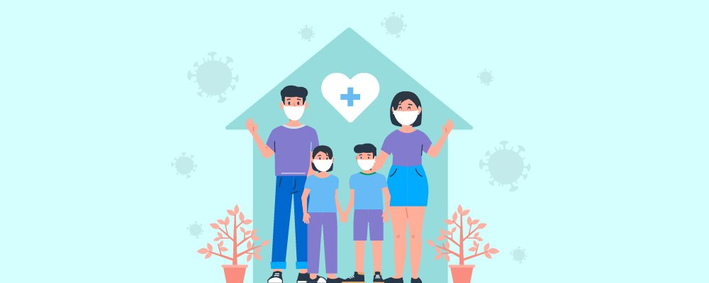 Family staying at home to avoid the pandemic