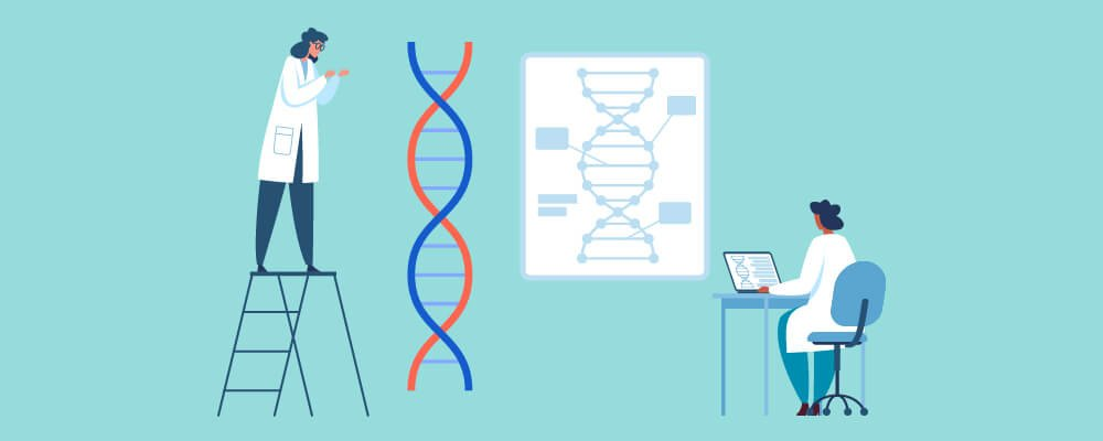 Scientist studying genes