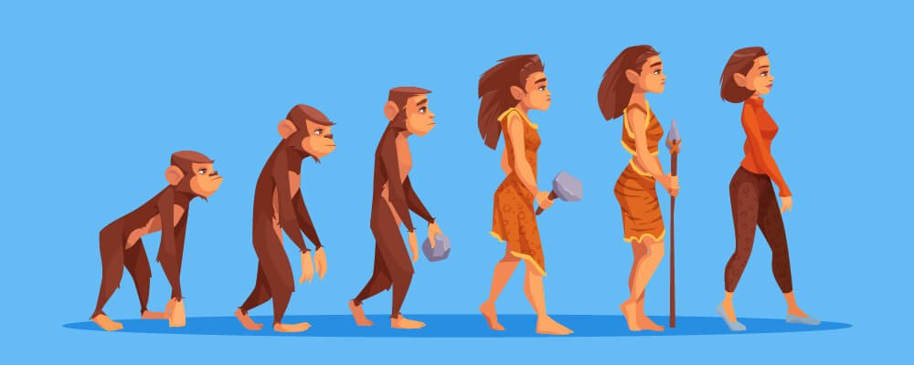 A figure of a Charles Darwin theory from ape to human